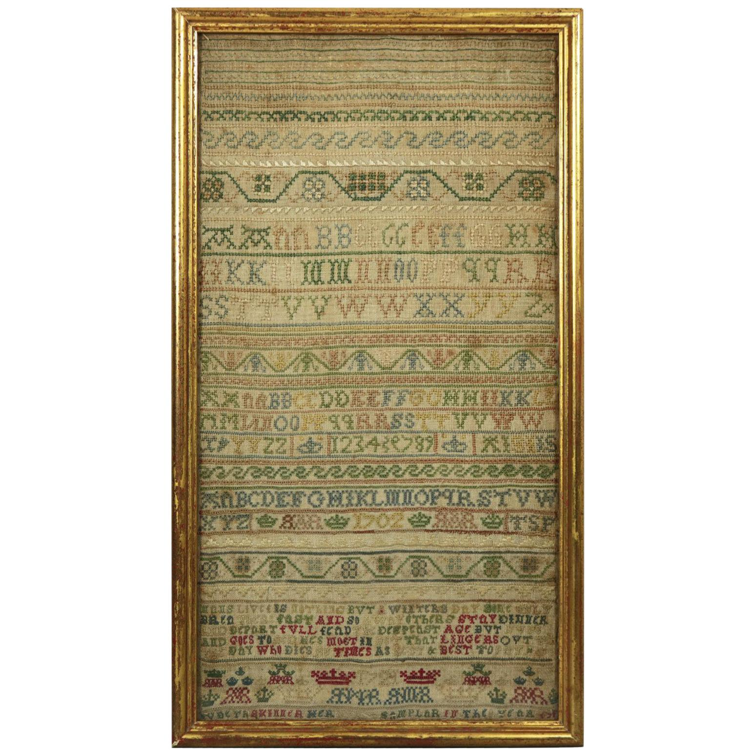 Antique Sampler, 1721 Alphabet Sampler by Judeth Skinner