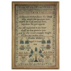 Antique Sampler, 1814, by Phoebe Shorten Aged 7