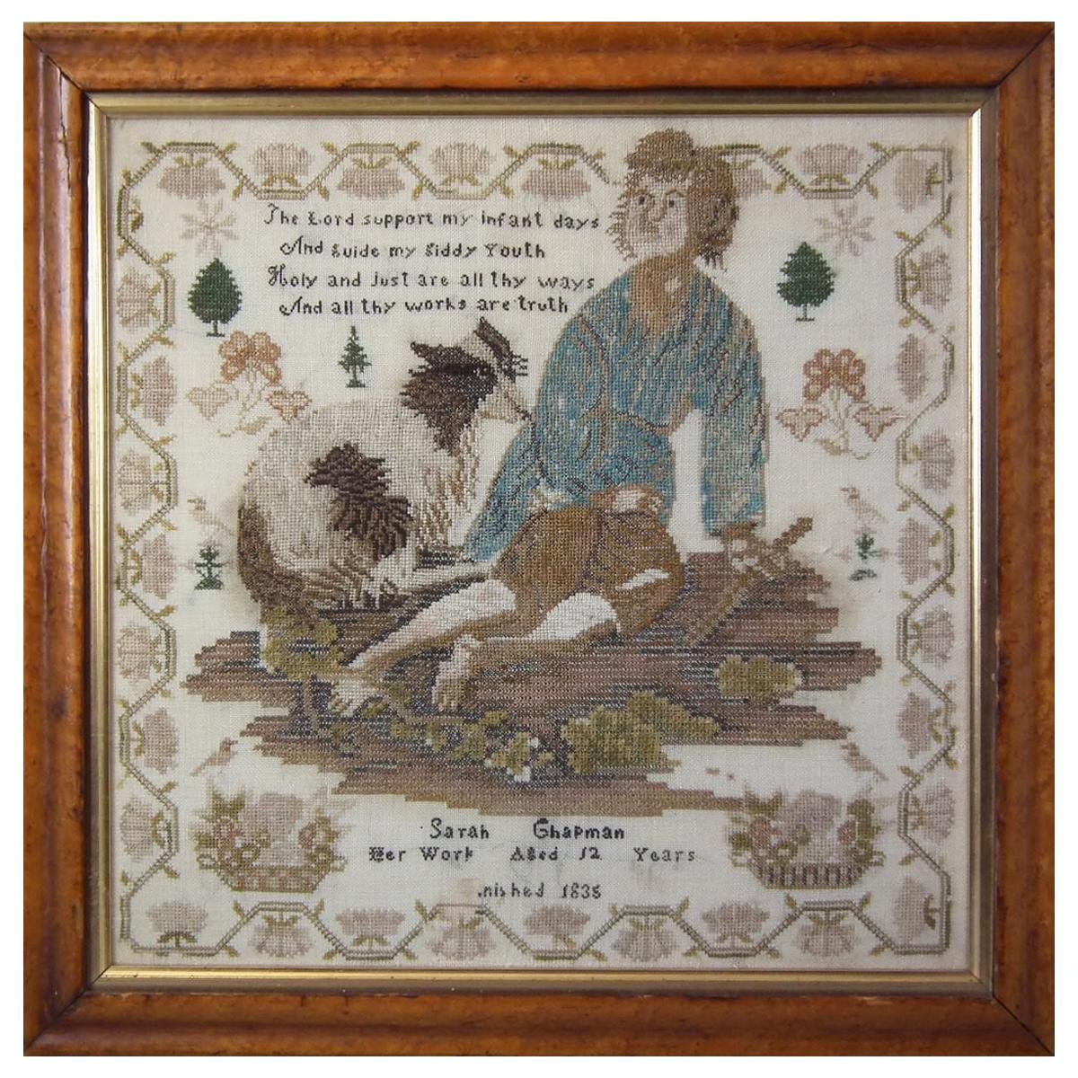 Antique Sampler, 1838, by Sarah Chapman