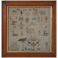 Antique Sampler, circa 1810, by Elizabeth Jump