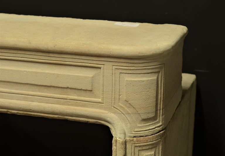 Antique Sandstone Louis XVI Fireplace Mantel For Sale 5