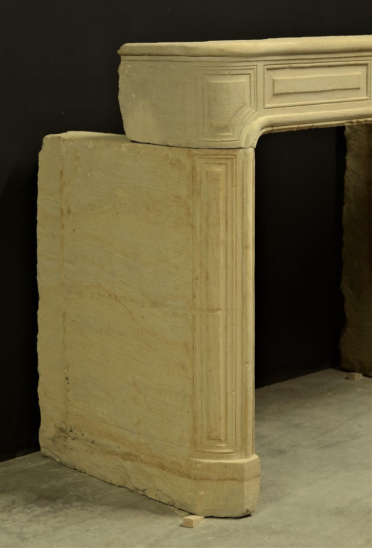 Antique Sandstone Louis XVI Fireplace Mantel For Sale 6