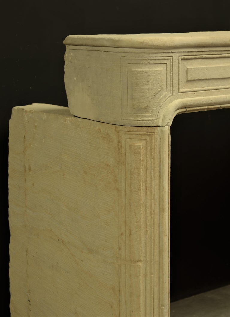 Antique Sandstone Louis XVI Fireplace Mantel For Sale 7