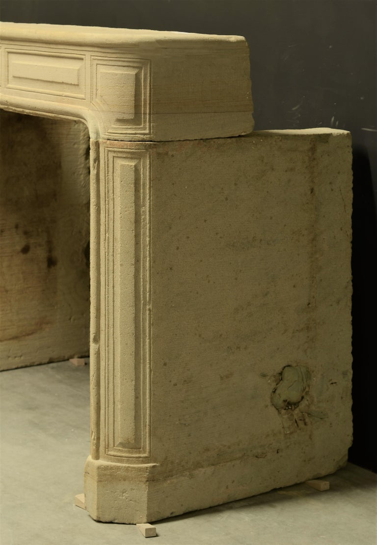 Antique Sandstone Louis XVI Fireplace Mantel For Sale 8