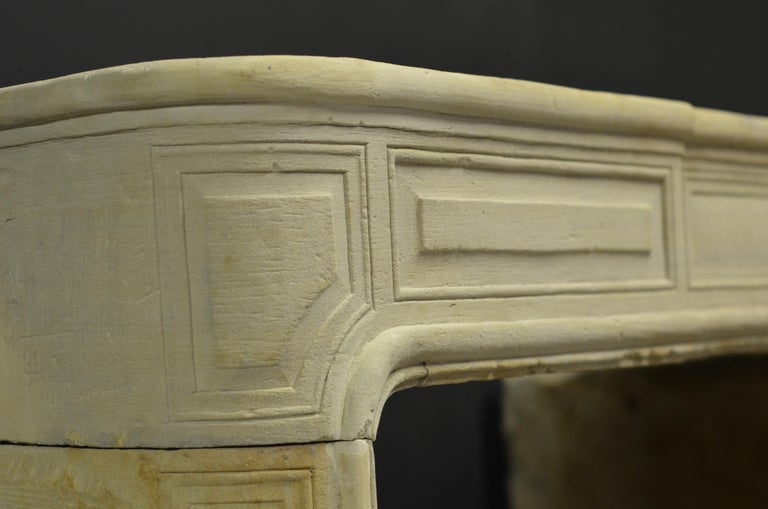Antique Sandstone Louis XVI Fireplace Mantel For Sale 13