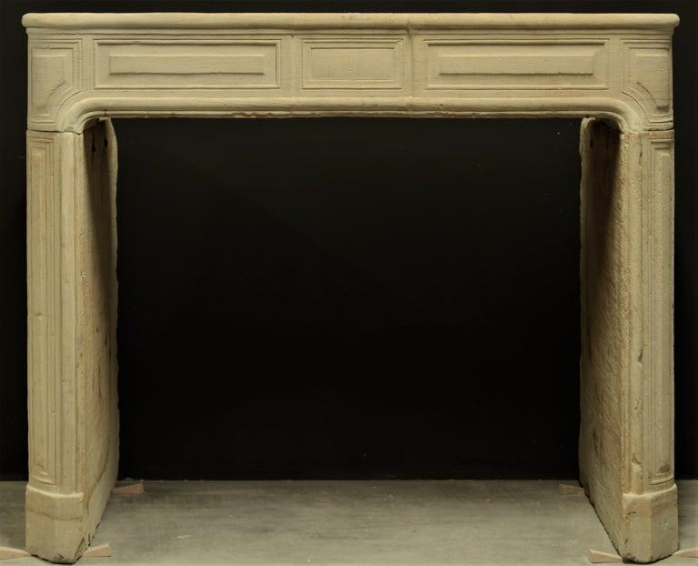 French Antique Sandstone Louis XVI Fireplace Mantel For Sale