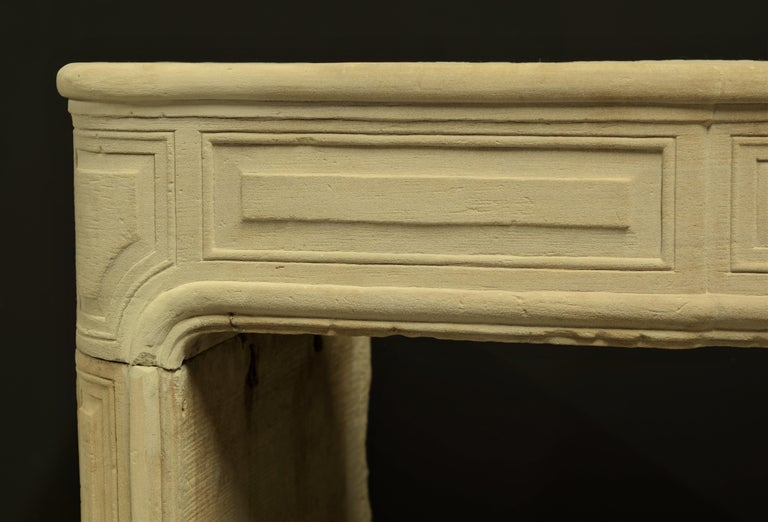 Antique Sandstone Louis XVI Fireplace Mantel For Sale 2