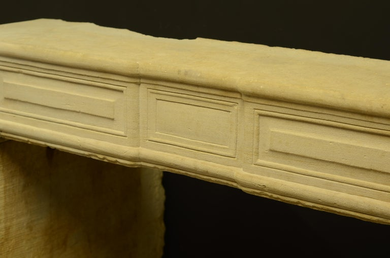 Antique Sandstone Louis XVI Fireplace Mantel For Sale 4