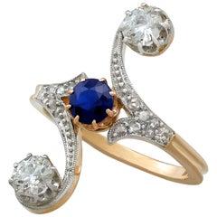 Antique Sapphire and 1.21 Carat Diamond Yellow Gold Twist Ring, circa 1910