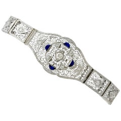 1930s Antique Sapphire and 1.36 Carat Diamond White Gold Bracelet