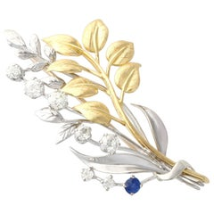 Antique Sapphire and 1.82 Carat Diamond Yellow and White Gold Spray Brooch