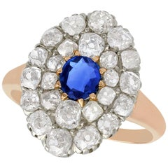 Antique Sapphire and 2.76 Carat Diamond Rose Gold Cluster Ring