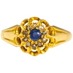 Antique Sapphire and Diamond 18 Carat Gold Cluster Ring