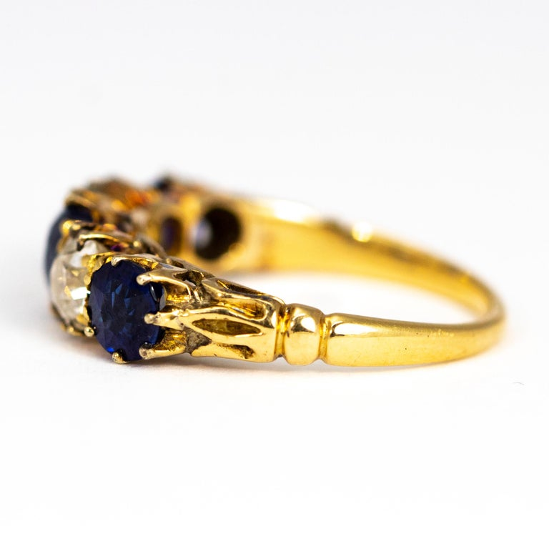 Edwardian Antique Sapphire and Diamond 18 Carat Gold Five-Stone Ring For Sale