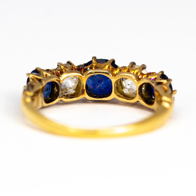 Antique Sapphire and Diamond 18 Carat Gold Five-Stone Ring In Good Condition For Sale In Chipping Campden, GB