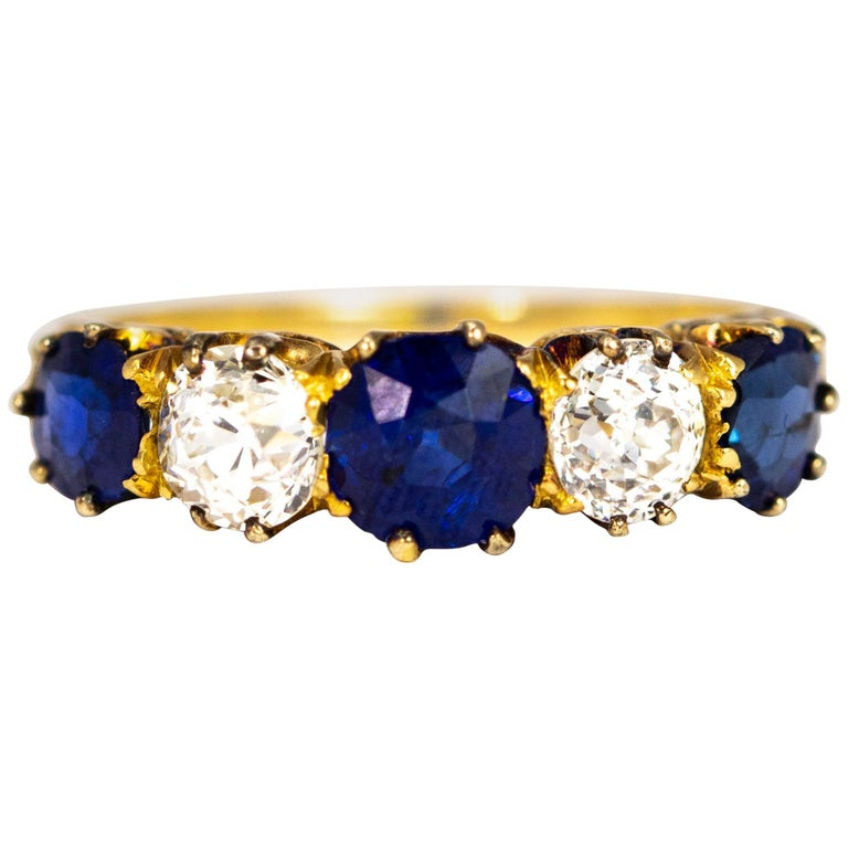 Antique Sapphire and Diamond 18 Carat Gold Five-Stone Ring For Sale