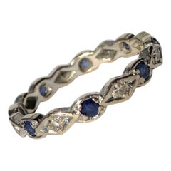 Antique Sapphire and Diamond 18 Carat White Gold Eternity Band