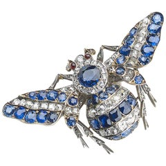 Antique Sapphire and Diamond Bee Brooch, Circa 1880