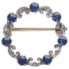Antique Sapphire and Diamond Circle Brooch