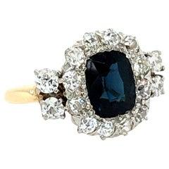 Antique Sapphire and Diamond Engagement Ring, circa 1900-1910