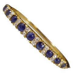 Antique Sapphire and Diamond Gold Bangle, Circa 1900s, Victorian/Edwardian