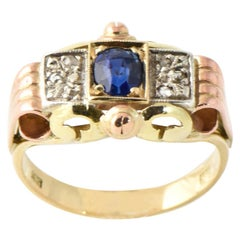Antique Victorian Sapphire and Diamond Tricolor Yellow Rose White Gold Ring