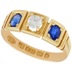 Antique Sapphire and Diamond Gold Three-Stone Ring