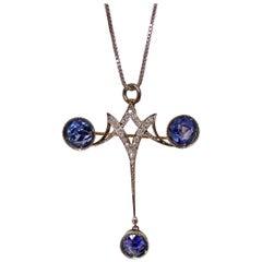 Antique Sapphire and Diamond Pendant Pin, circa 1910