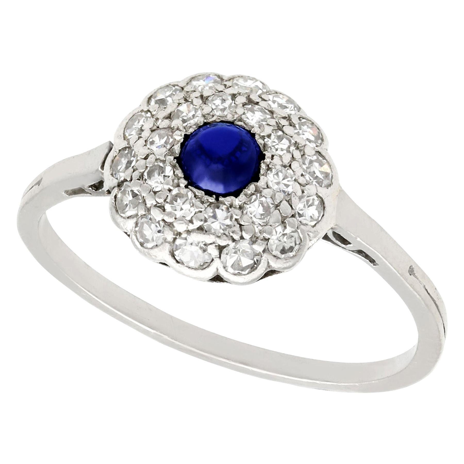 Antique Sapphire and Diamond Platinum Cluster Ring, circa 1925