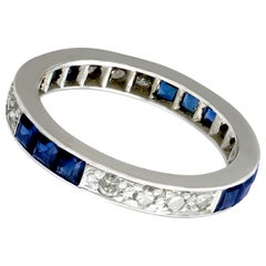 Antique Sapphire and Diamond White Gold Full Eternity Ring