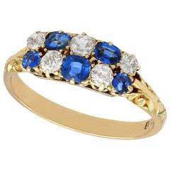 Antique Sapphire and Diamond Yellow Gold Cocktail Ring