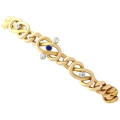 Antique Sapphire and Diamond Yellow Gold Curb Bracelet