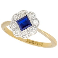 Antique Sapphire and Diamond Yellow Gold Dress Ring