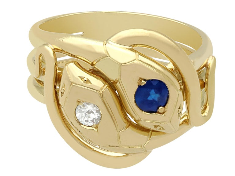Antique Sapphire and Diamond Yellow Gold Snake Ring In Excellent Condition For Sale In Jesmond, Newcastle Upon Tyne