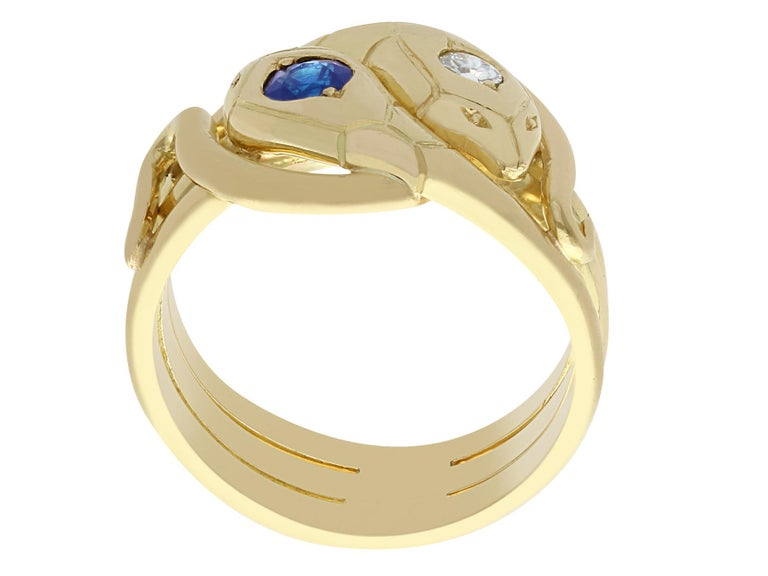 Women's or Men's Antique Sapphire and Diamond Yellow Gold Snake Ring For Sale