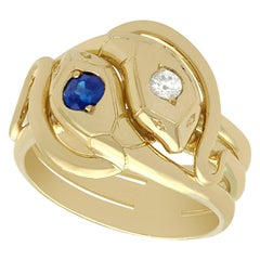 Antique Sapphire and Diamond, Yellow Gold Snake Ring