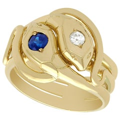 Antique Sapphire and Diamond Yellow Gold Snake Ring
