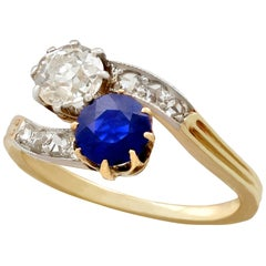 Antique Sapphire and Diamond Yellow Gold Twist Ring