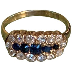 Antique Sapphire and Mine Cut Diamond 18 Karat Yellow Gold Ring - Size 7