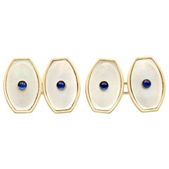 Antique Sapphire and Mother of Pearl Yellow Gold Cufflinks, Circa 1920