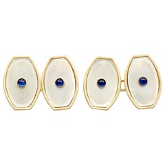 Antique Sapphire and Mother of Pearl Yellow Gold Cufflinks