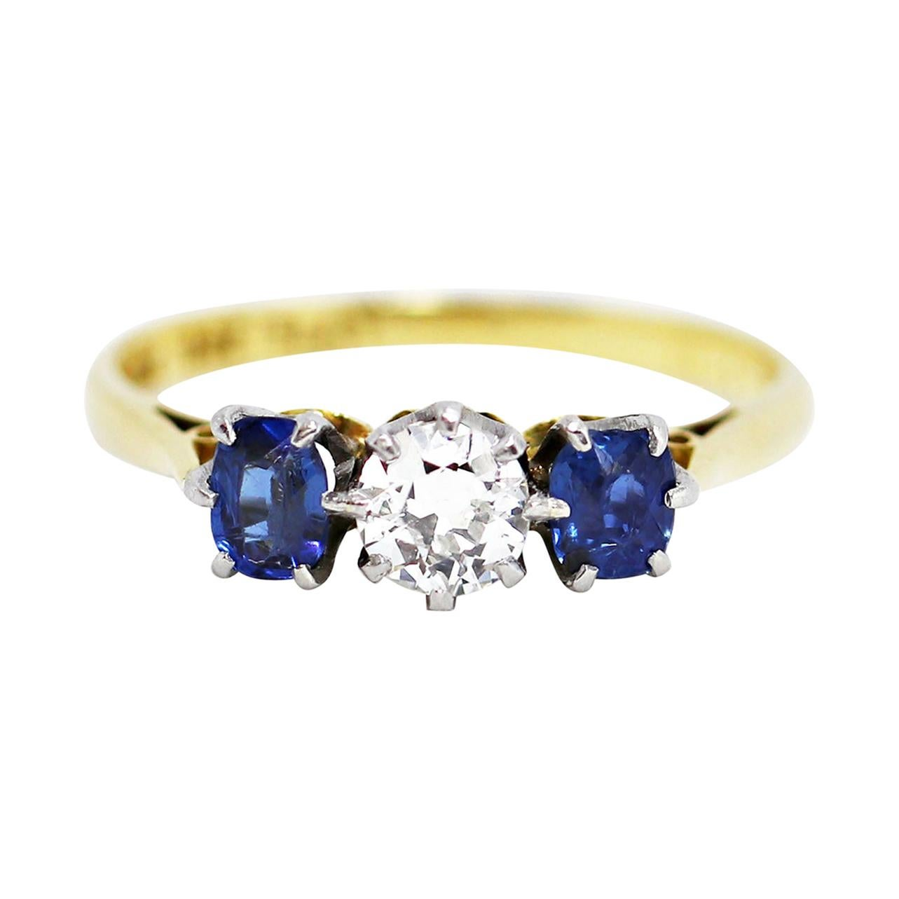 Antique Sapphire and Old Cut Diamond 3-Stone 18ct Gold and Platinum Ring, c.1920