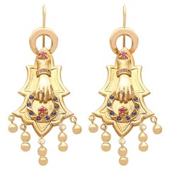 Antique Sapphire and Ruby Yellow Gold Earrings Circa 1880