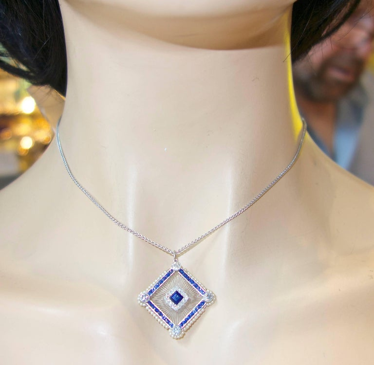 Antique Sapphire, Diamond and Natural Pearl Pendant In Excellent Condition For Sale In Aspen, CO
