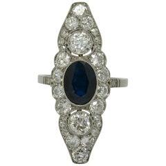 Antique Sapphire Diamond Cocktail Ring Navette Edwardian 3 Carat
