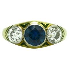 Antique Sapphire Diamond Engagement Ring 3-Stone Arts & Crafts Enamel circa 1910