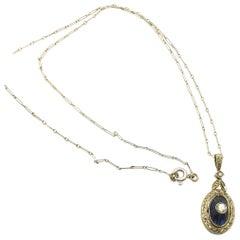 Antique Sapphire Diamond French 18 Karat Gold Target Pendant Necklace