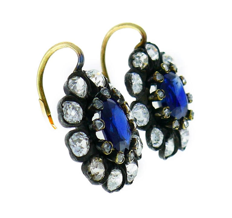 Women's Antique Sapphire Diamond Gold Cluster Earrings For Sale