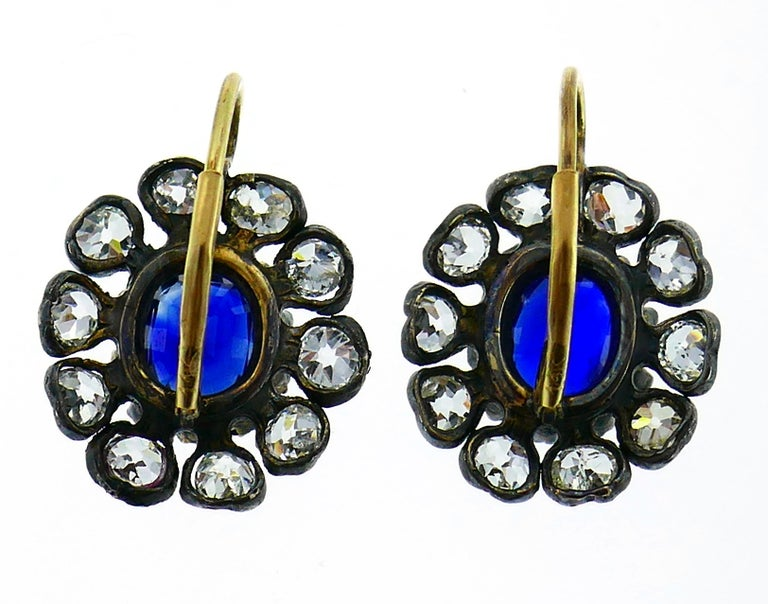 Antique Sapphire Diamond Gold Cluster Earrings For Sale 2