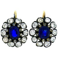 Antique Sapphire Diamond Gold Cluster Earrings